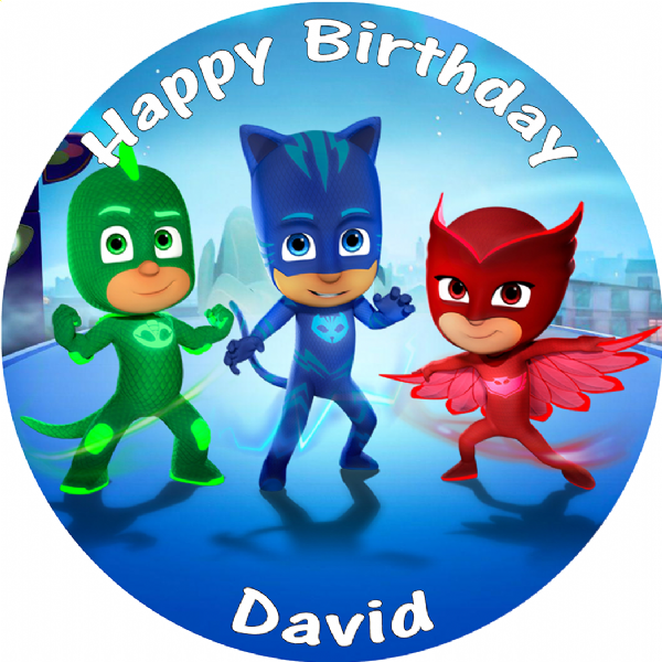 PJ MASKS BIRTHDAY CAKE EDIBLE ROUND PRINTED CAKE TOPPER DECORATION